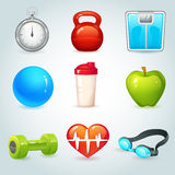 Sport and fitness icons. Sport and fitness realistic icons set isolated vector illustration Stock Photography
