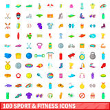 100 sport and fitness icons set, cartoon style. 100 sport and fitness icons set in cartoon style for any design vector illustration Royalty Free Stock Image