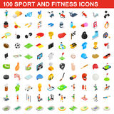 100 sport and fitness icons set, isometric style Stock Photo