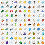 100 sport and fitness icons set, isometric style. 100 sport and fitness icons set in isometric 3d style for any design vector illustration Stock Images