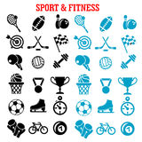 Sport and fitness icons set with items Stock Photos