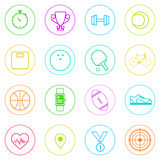 Sport Fitness Icons Set Thin Line Simple Colorful Stock Photos