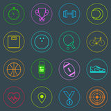 Sport Fitness Icons Set Thin Line Simple Colorful Royalty Free Stock Photo