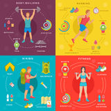 Sport and Fitness Infographic Banners Stock Photography