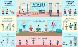 Sport Fitness Infographic Horizontal Banners Stock Images