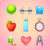 Sport and Fitness Items Realistic Icons Stock Photos