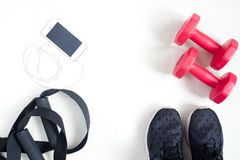 Sport fitness items with smartphone on white background, flat la Stock Photo