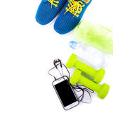 Sport and fitness lifestyle and objects concept on white Stock Images