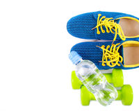 Sport and fitness lifestyle and objects concept on white Stock Image