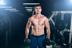 Sport, fitness, lifestyle and people concept -  Muscular bodybuilder guy doing exercises with dumbbells in gym Stock Photos