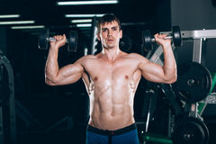 Sport, fitness, lifestyle and people concept - Muscular bodybuilder guy doing exercises with dumbbells in gym. Royalty Free Stock Images