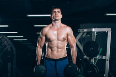 Sport, fitness, lifestyle and people concept - Muscular bodybuilder guy doing exercises with dumbbells in gym. Sport, fitness, lifestyle and people concept Stock Photo
