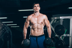 Sport, fitness, lifestyle and people concept - Muscular bodybuilder guy doing exercises with dumbbells in gym. Stock Photos