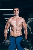 Sport, fitness, lifestyle and people concept - Muscular bodybuilder guy doing exercises with dumbbells in gym. Royalty Free Stock Photo