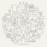 Sport and Fitness Line Icons Set Circular Shaped Stock Images
