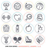 Sport and fitness line icons set Royalty Free Stock Photo