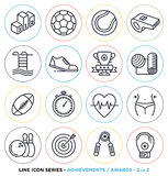 Sport and fitness line icons set. Vector collection of sports & gym symbols & objects Royalty Free Stock Photography