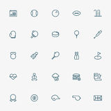 25 sport and fitness line icons. Vector Royalty Free Stock Photo