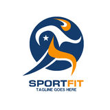 Sport fitness logo. Creative sport fit fresh healthy, fitness sport logo, athlete logo vector Stock Image