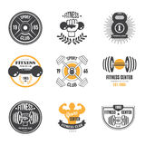 Sport and Fitness Logo Templates, Gym Logotypes stock illustration