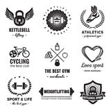 Sport & fitness logos vintage vector set. Hipster and retro style. Royalty Free Stock Photography