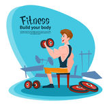 Sport Fitness Man Barbell Exercise Workout Gym Stock Photography