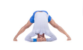 Sport fitness man doing yoga exercise. Isolated on a white background. Studio shot royalty free stock images