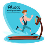 Sport Fitness Man On Running Track Treadmill Exercise Workout Gym Stock Image
