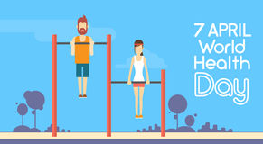 Sport Fitness Man Woman Chin Up Bar Exercise Workout World Health Day 7 April Holiday Royalty Free Stock Photography