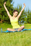 sport fitness model outside on summer / Royalty Free Stock Image