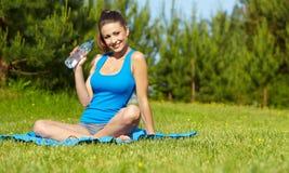 Sport fitness model outside on summer / Royalty Free Stock Photo