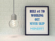 Sport, fitness motivation  Rule 1 to working out ,never skip Monday. Inspirational quotation. Success concept. Home decor art. 3D Royalty Free Stock Images