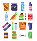 Sport and fitness nutrition and dietary supplements vector flat icons. Sport and gym fitness nutrition and dietary supplements. Energy snack bar, protein drink Royalty Free Stock Photography
