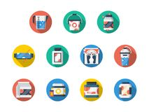 Sport and fitness nutrition round icons set Royalty Free Stock Photography