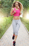 Sport fitness running young woman stock photo