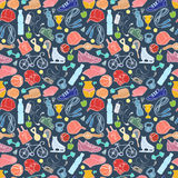 Sport and fitness seamless doodle pattern Stock Images