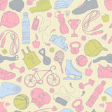 Sport and fitness seamless doodle pattern Royalty Free Stock Photo