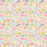 Sport and fitness seamless doodle pattern Royalty Free Stock Images