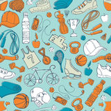Sport and fitness seamless doodle pattern Stock Photo