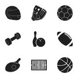 Sport and fitness set icons in black style. Big collection of sport and fitness vector symbol stock illustration Royalty Free Stock Photography