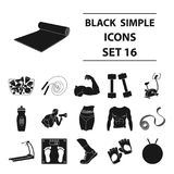 Sport and fitness set icons in black style. Big collection of sport and fitness vector symbol stock illustration Stock Photos