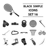Sport and fitness set icons in black style. Big collection of sport and fitness vector symbol stock illustration Stock Photography