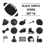 Sport and fitness set icons in black style. Big collection sport and fitness vector symbol stock illustration Stock Image