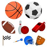 Sport and fitness set icons in cartoon style.  Royalty Free Stock Photos