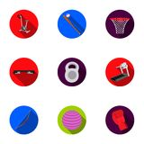 Sport and fitness set icons in flat style. Big collection of sport and fitness vector symbol stock illustration Stock Photos