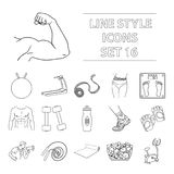 Sport and fitness set icons in outline style. Big collection of sport and fitness vector symbol stock illustration Royalty Free Stock Photography