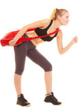 Sport. Fitness sporty girl with gym bag running to training Royalty Free Stock Photography