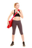 Sport. Fitness sporty girl in sportswear with gym bag Royalty Free Stock Image