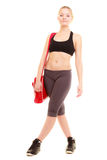 Sport. Fitness sporty girl in sportswear with gym bag Royalty Free Stock Photos