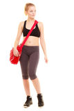 Sport. Fitness sporty girl in sportswear with gym bag Royalty Free Stock Photography